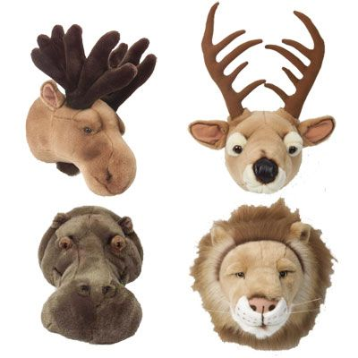 Plush baby wall mounts for a Hunting Theme ....good idea in case Jaz has a baby boy next time.