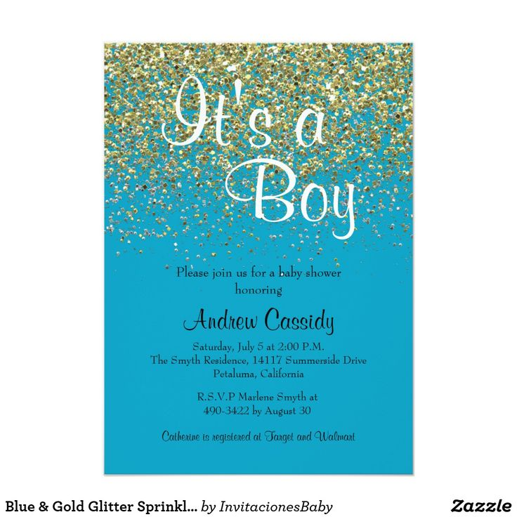 Blue & Gold Glitter Sprinkle Baby Shower Invite