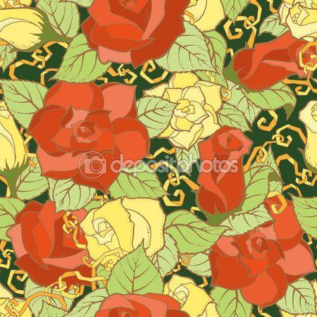 Бесшовный фон со стилизованными цветами. Богато украшенные zentangle бесшовная текстура, узор с абстрактными цветами. Цветочный узор можно использовать для обоев, узорные заливки, фон веб-страницы — стоковая иллюстрация #114606974