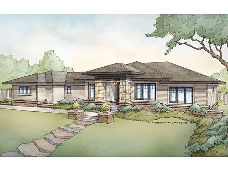 Prairie Style Home Plan with 3718 Square Feet and 5 Bedrooms from Dream Home Source | House Plan Code DHSW077443