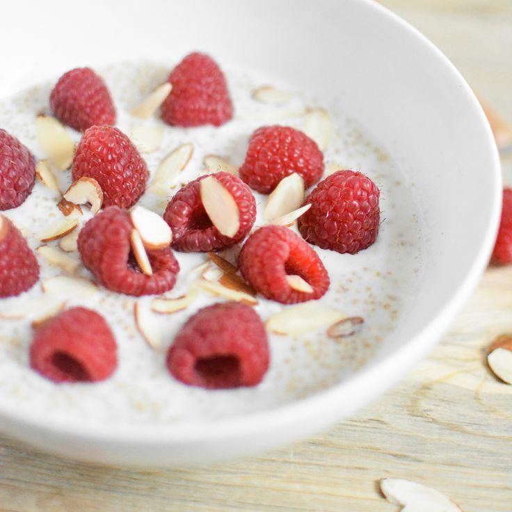 Raspberry Vanilla Almond Quinoa 3 C vanilla almond milk 1 t gr ...