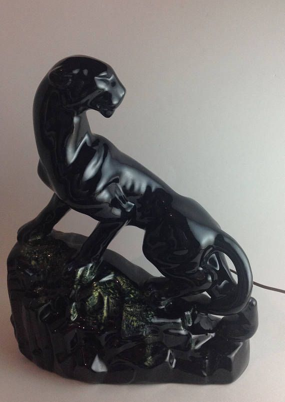 Rare Large Mid Century Black Panther TV Night Light Lamp