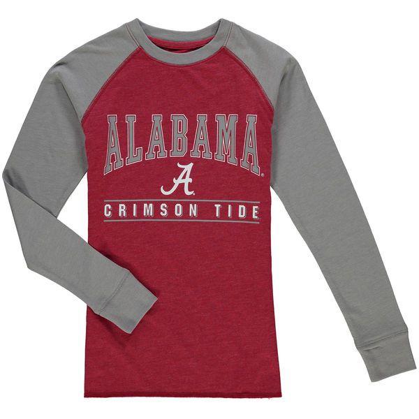 Alabama Crimson Tide Colosseum Youth Kryton Long Sleeve Raglan T-Shirt - Crimson/Gray - $21.99