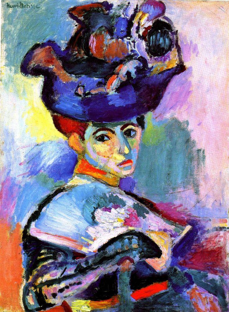 peinture française : Henri Matisse, 1905, Femme au chapeau