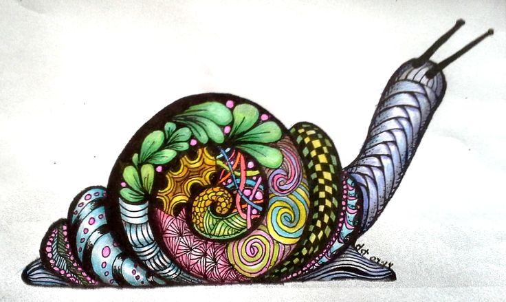 Baby Snail - Zentangled & Colored - E Z Art