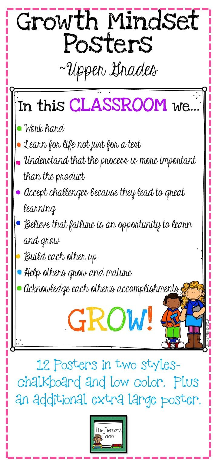 Thought this would be great to post within the classroom as growth mindset rules to demonstrate to students that it is more important to grow for the future and understand concepts oppose to solely working to get a grade on a test and forgetting the information afterwards. This may be difficult for students to understand in younger grades but it is important for an educator to create a positive, growth mindset classroom where students are encouraged to take chances and strive for success.