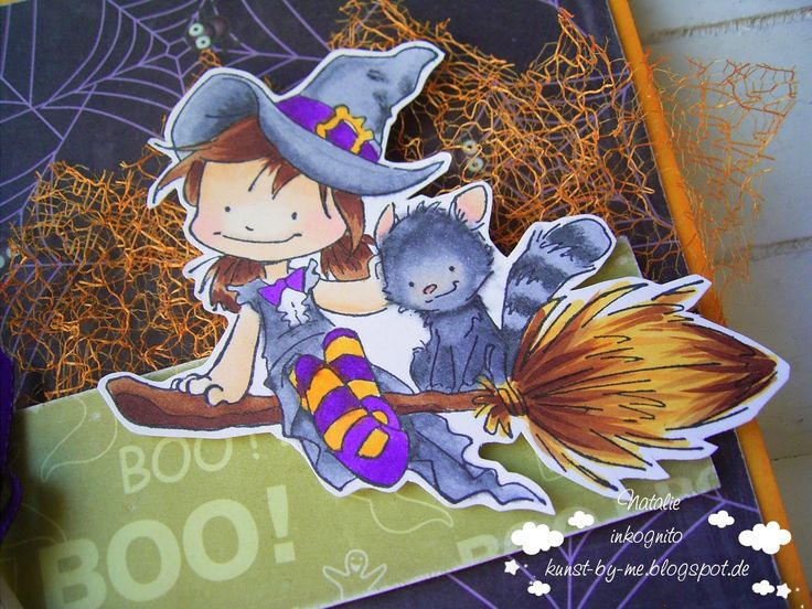 INKognito ~ Cards by Natalie: DT: Hexe mit Katze / Witch and Cat (for Sister Act Card Challenge)