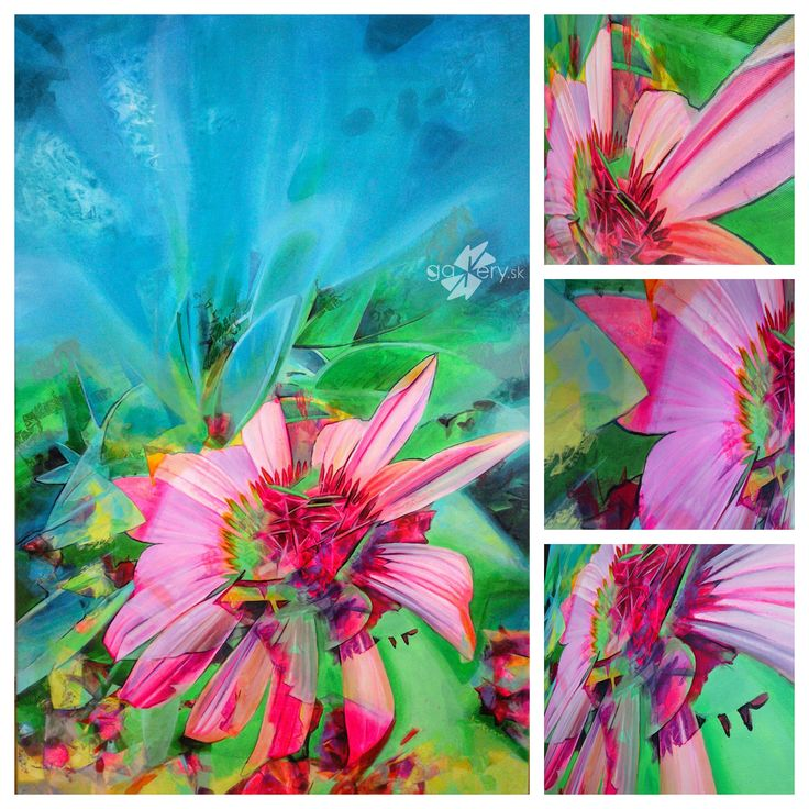 Echinacea and Iris, acrylic painting on canvas – kkgallery.sk