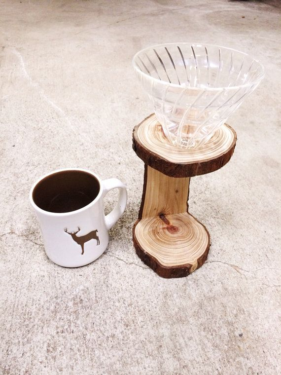 Handmade Wooden PourOver Stand by REWoodwork on Etsy, $39.96