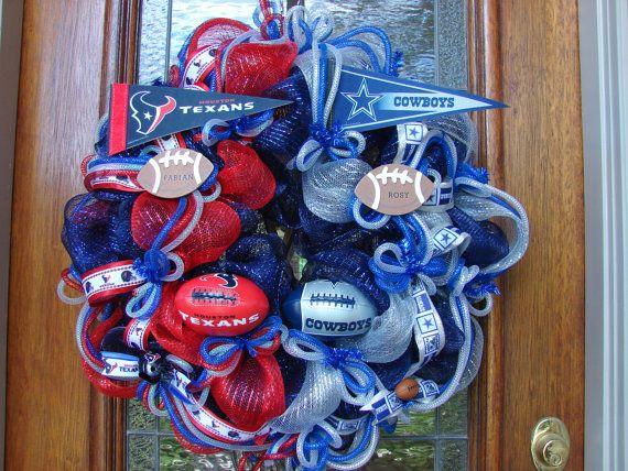 Custom House Divided Football Wreath  Any Teams by LadybugsWreaths, $85.00
