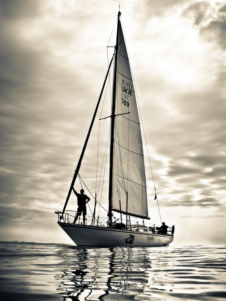 Sailing, black and white