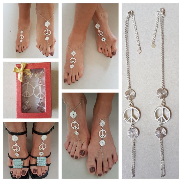 Exquisite Peace Chain Barefoot Sandals.  These sandals are delicate accessory to your everywear.  Perfect for weddings, gift for someone special, group performance, yoga, any form of dance, pole dance , any time with or without shoes.  Made with silver plated chain, silver spiral charm, white metal peace symbol and sterling silver plated oyster clasp set.  Fit most sizes, however if you would like a perfect fit please contact me to custom make without extra charge.  Please allow two working…