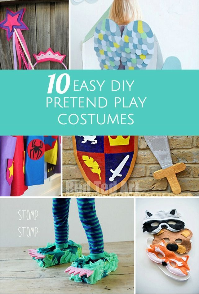 10 Easy DIY Pretend Play Costumes for Kids. Some fun and easy DIY Halloween costume ideas here.