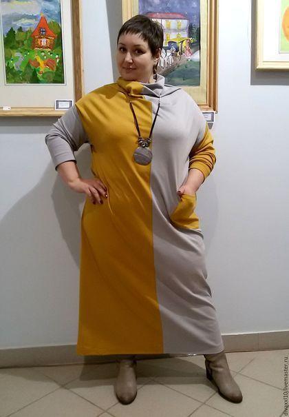 Большие размеры ручной работы. Платье горчичное шахматка. Елена Кабушева. Ярмарка Мастеров. Платье нарядное, женская одежда