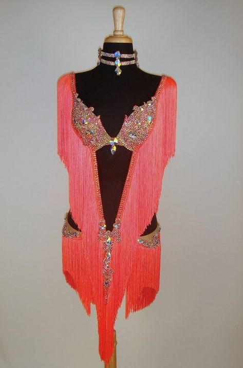Latin Dress - FOR SALE - Tangerine Fringe Latin Ballroom Dress Size 2-6