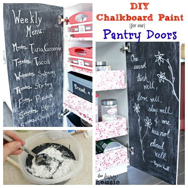 DIY Chalkboard Paint for our Pantry Doors at the happy housie main