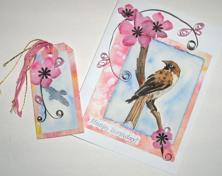 #6 - Hand-made card and gift tag with paper quilling, paper flowers and a watercolour painting. For Sale - $10.00 - SOLD