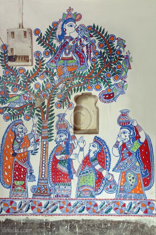 Painting on Wall Madhubani Bihar India Asia