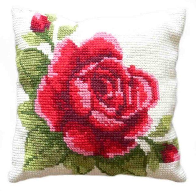 "DIY Cushion Kit with ""Easy to Follow Instruction"" Rose Chunky Cross Stitch Cushion Kit (Art. No.: 4016)"