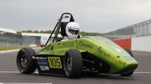 The hydrogen-powered Forze V race car recently competed against gas-powered cars, at the F...