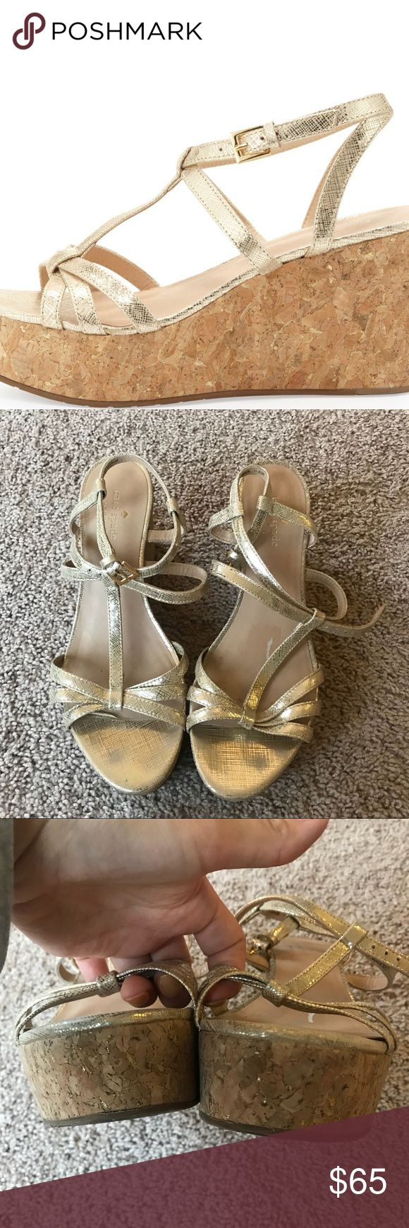 Kate spade tropez gold wedges Great condition authentic kate spade gold wedge heels. Size 9.5 kate spade Shoes Wedges