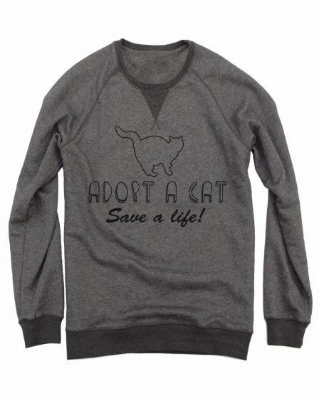 Adopt A Cat Crewneck Sweater Shirts With Creative Words Grey - True Love Tees !