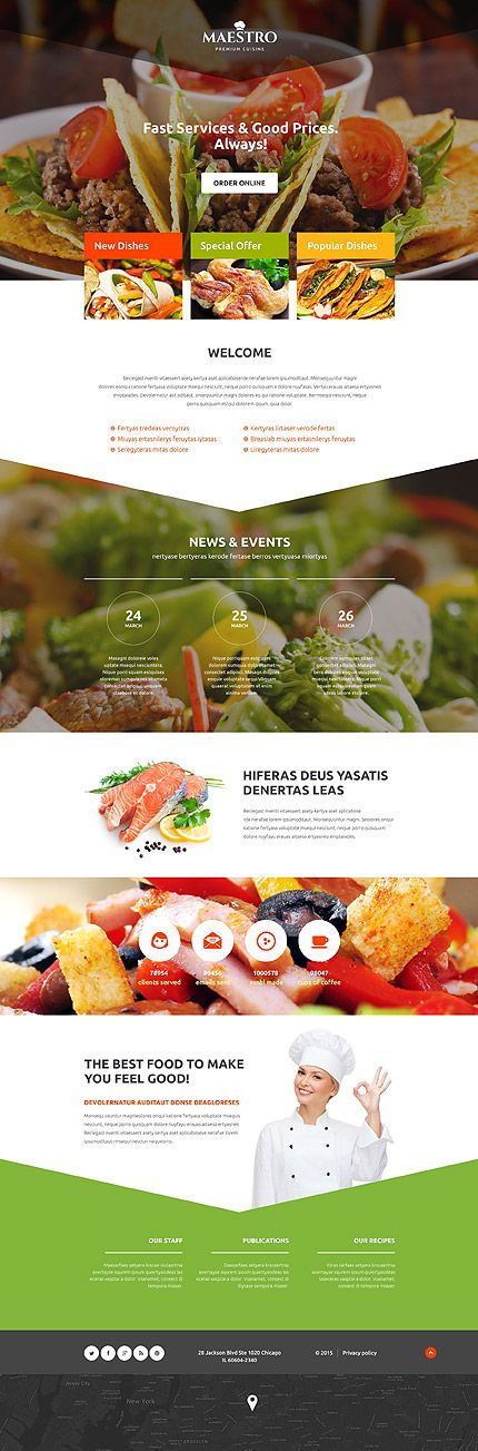 Template 54662 - Maestro Restaurant  Responsive Landing Page Template
