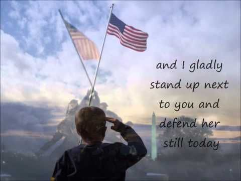 Lee Greenwood, God bless the U.S.A. I saw Lee  Greenwood perform this beautiful song at Arden Fair Mall in Sacramento, CA.