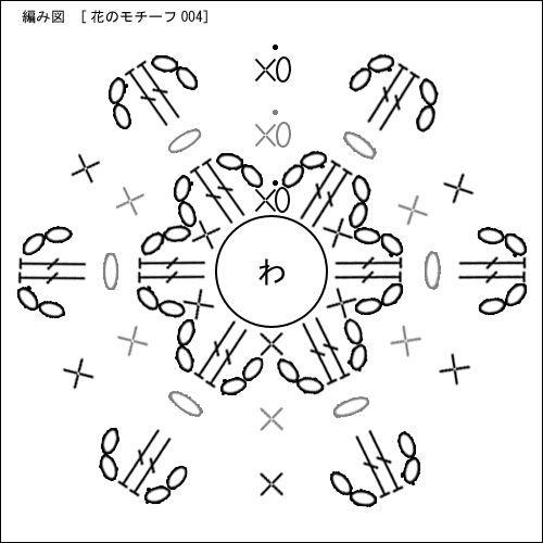 花のモチーフの無料編み図