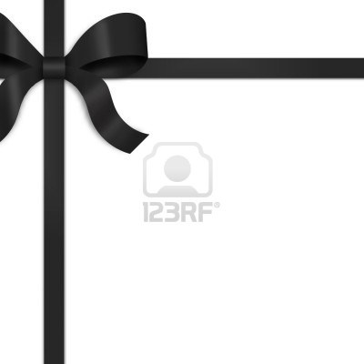 Illustration du ruban satin noir, à égalité avec bow sur la partie supérieure gauche du cadre.  Fond blanc offre espace de la copie.   Banque d'images