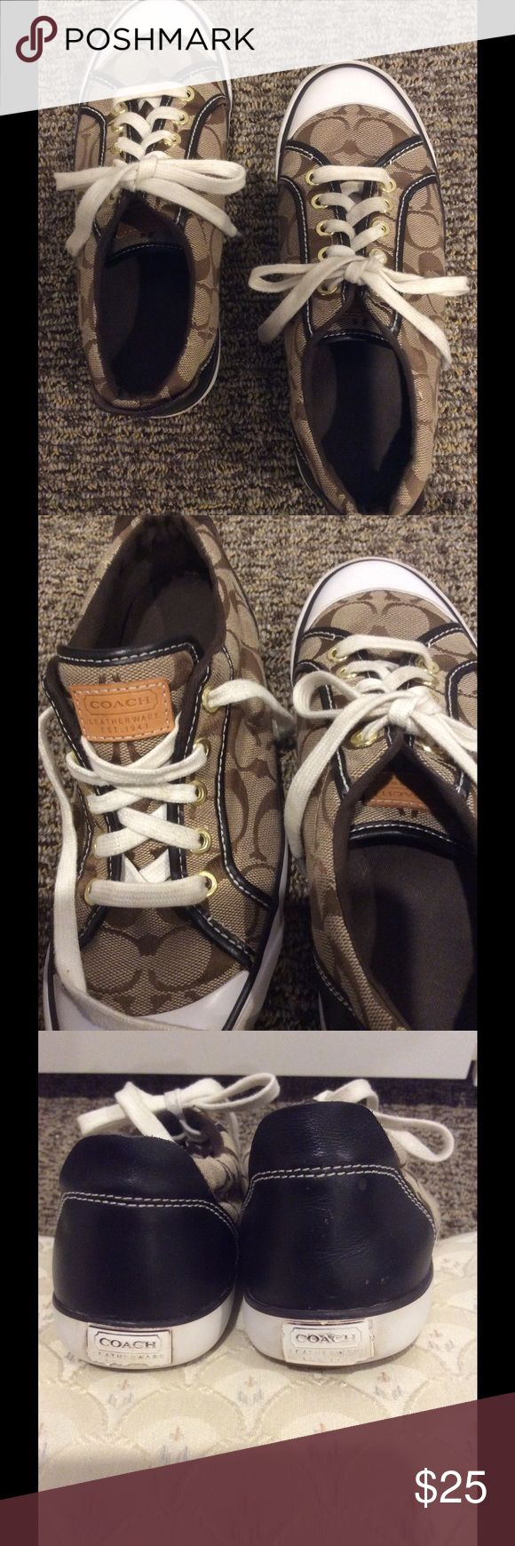 Coach tennis shoes! Nice Coach tennis shoes! These have been loved but are in good condition. Back labels peeling a bit and some scuffing on front of toes (see pics). Could be loved a lot more!! ❤😊 Coach Shoes Sneakers