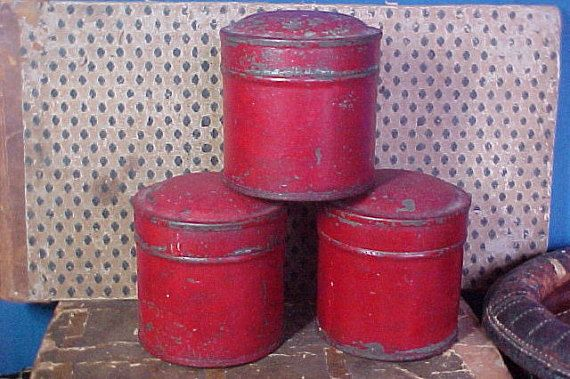 Antique Red Painted Spice Tins, Canisters, Primitive Red Paint