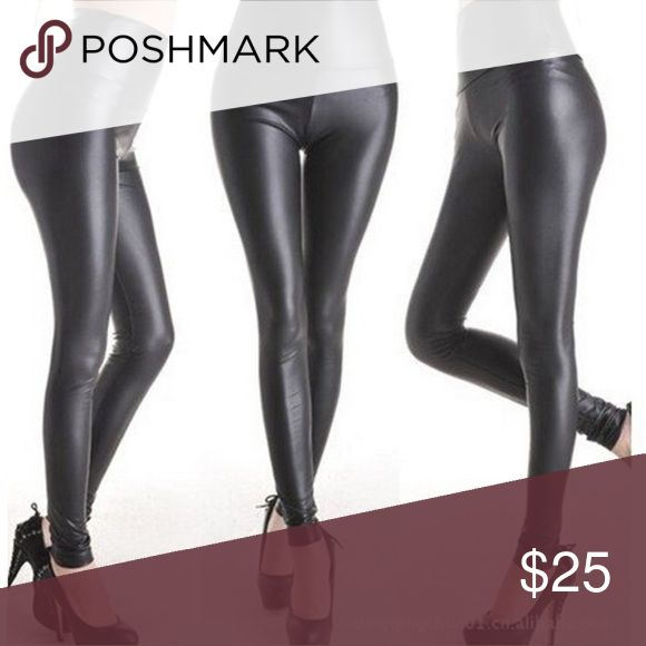 NWT Black slick poly leather leggings high waisted Brand new! Never worn. Perfect for fall  Pants Leggings
