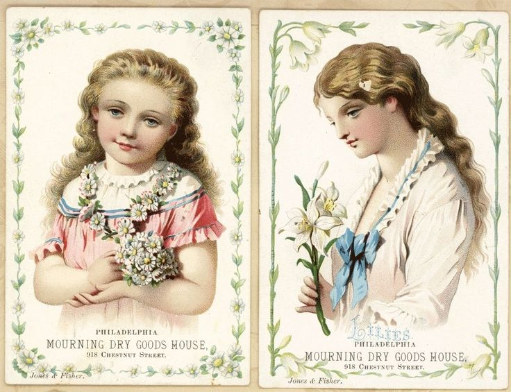 Set 2 Mourning Dry Goods Philadelphia PA Beautiful Girls Antique Trade Cards