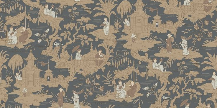 Chinese Toile  (100/8040) - Cole & Son Wallpapers - This early print has been given a fresh take for modern interiors, whilst retaining its classic Oriental feel. This popular style in Victorian times, this design features pastoral vignettes of Far Eastern life. Shown here in various charcoal shades. Other colourways are available. Please request a sample for a true colour match.