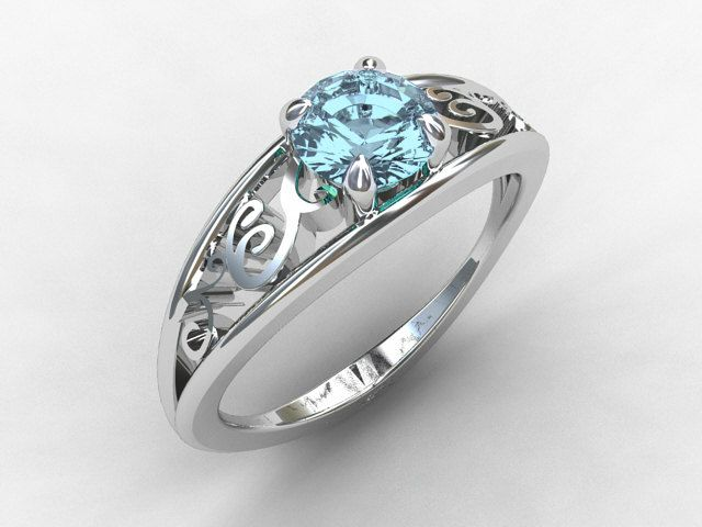 LOVE THIS! Aquamarine engagement ring, white gold, filigree ring, blue engagement, solitaire, vintage style, lace ring, birthstone. $1,589.00, via Etsy.