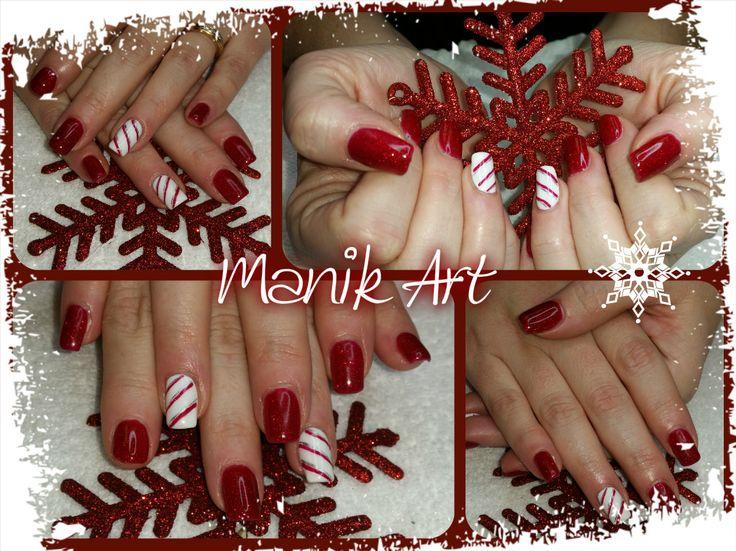 #noel #christmas #red #white #candycane #nailart #ongle