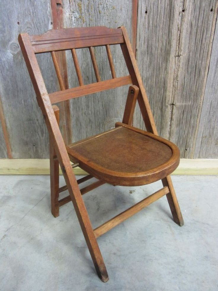 Vintage Wooden Folding Chair U003e Antique Table Stand Old Stool Chairs RARE  7039