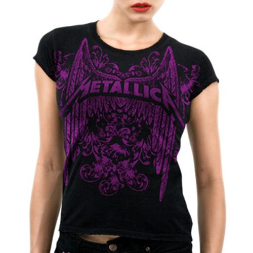 Official Metallica babydoll shirt featuring Iron wings and elaborate filligree give a medieval vibe to this purple Metallica graphic on front and back of this very rockin' tee.  Available here: http://heavymetalmerchant.com/product/metallica-rnr-winged-logo-girls-shirt