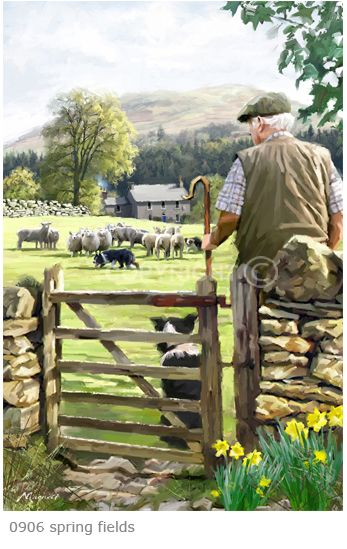 """Spring Fields"" by Richard Macneil. Makes me think of James Herriot's books about being a veterinarian in Yorkshire."