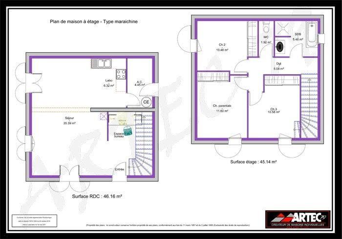 Plan Maison R 1 100m2 Rraffo Excellent 0m2 In 2021 80m2 House Plans House Plans 2 Floors Plan Villa