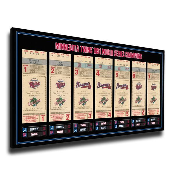 Minnesota Twins 1991 World Series Champions Tickets To History Canvas Print - $79.99