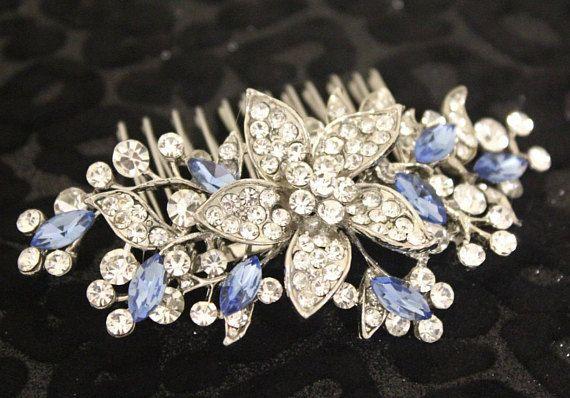 Something Blue Bridal Hair Piece Royal Blue Wedding Comb Sapphire