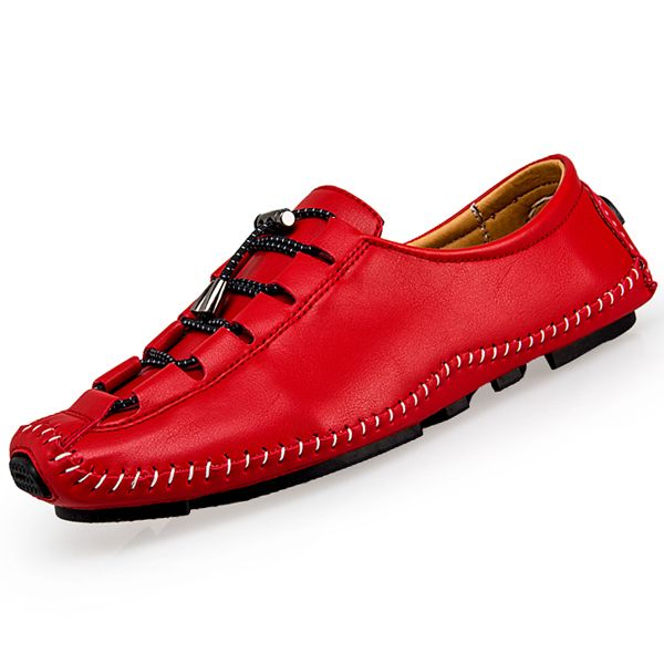 2017 de Alta Calidad Los Hombres de Cuero Genuino Zapatos Mocasines Blandos Mocasines Moda Marca Planos de Los Hombres Zapatos de Conducción Cómoda Superestrella Pisos