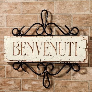 "Italian ""Benvenuti"" Welcome Plaque"