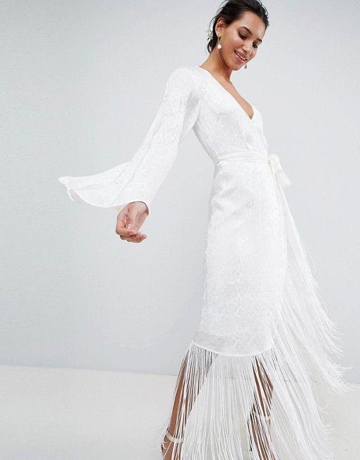 40ff61861 EDITION Fringe Wrap Wedding Maxi Dress in 2019