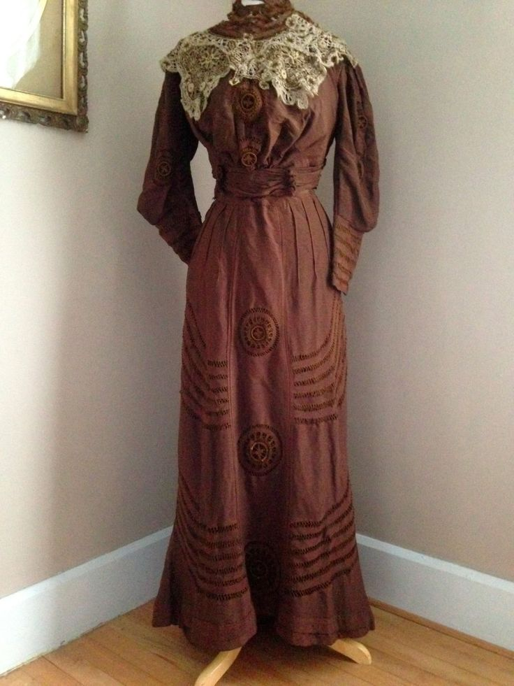 Victorian Antique Dress Deep Brown with Crochet Details | eBay