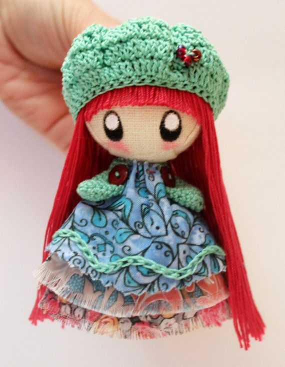 Textile brooch raspberry and mint Tosya doll by DollsLittleAngels
