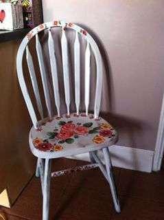 Kitchen chair. Painted and flowered