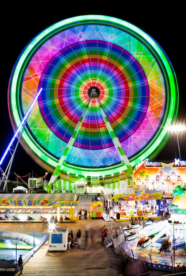 Funfair Lights by Roger Orpinell, via 500px: Exam Fairground, Circus, Photography